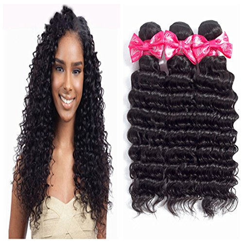 Ms Love Hair Brazilian Deep Wave Virgin Hair Unprocessed Human Hair Extension 1 Bundles Natural Color (100+/-5g)/Pc (Beautiful Natural Curl) (8)