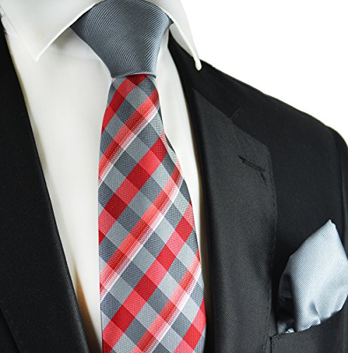 Grey and Red Contrast Knot Tie and Pocket Square by Paul Malone