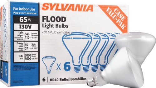Sylvania BR40 130-Volt 65-Watt Reflector Flood Light Bulb Case Value Pack Incandescent Medium Base E26 Dimmable Light Bulb (6-Pack) (Br40 Medium Base Frost Reflector)
