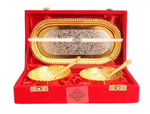Indian Art Villa Silver Plated Gold Polished Bowl Set with Spoon Tray, Diwali Gift Item