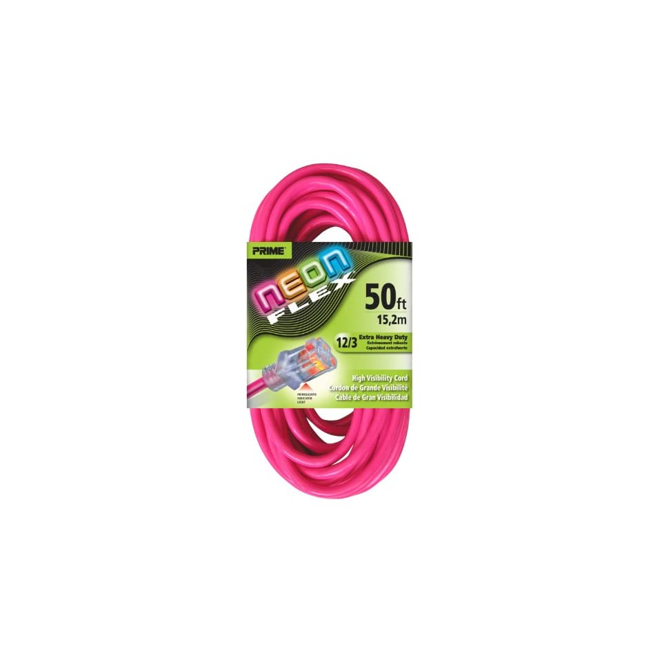Prime Wire & Cable NS513830 50 Foot 12/3 SJTW Flex High Visibility Extra Heavy Duty Outdoor Extension Cord with Prime light Indicator Light, Neon Pink