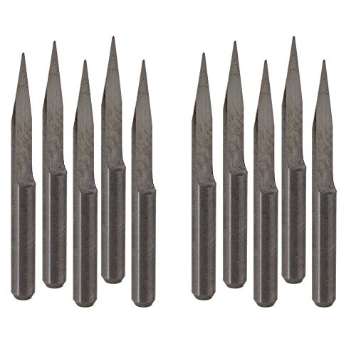 10pcs Round Tip Carbide PCB Cameo Engraving Carving Bit CNC Router 20° 0.4mm