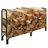 Best Choice Products 8' Firewood Log Rack Large Wood Storage Holder With Cover Heavy Duty Metal Rack