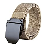 ACKKUN Men's Nylon Belts Tactical Solid Belt With Metal Buckle AC0009 Khaki 1