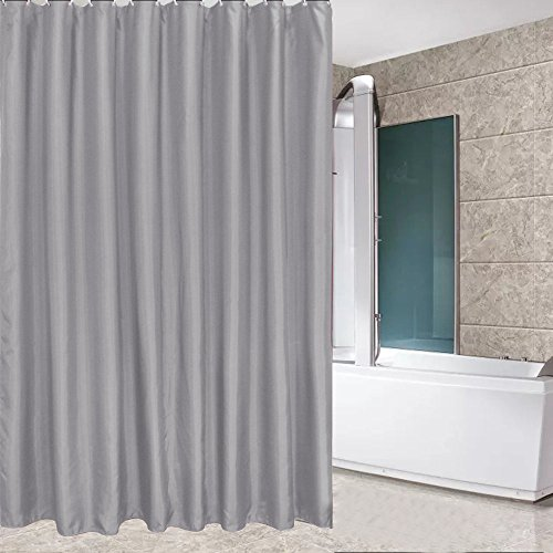Eforcurtain Small Width Size 36 x 72-Inch Polyester Shower Curtains Easy Care - Water Repellent Mold Resistant, Unique Simple Style Bath Curtain in Gray Color Ideal for Kids and Teens