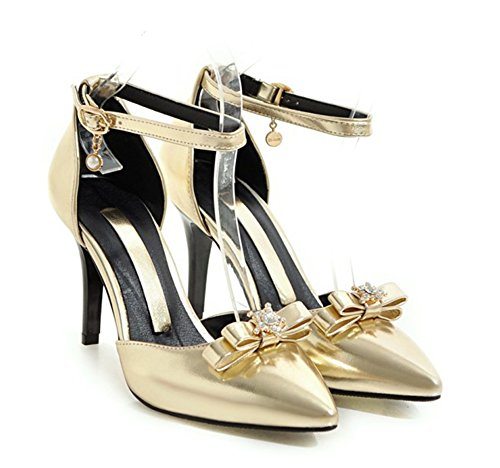 Aisun Mujeres Sexy Bows Buckle Dress Punta Estrecha Dorsay Stiletto High Heels Bombas Zapato Con Tobillo Correas De Oro