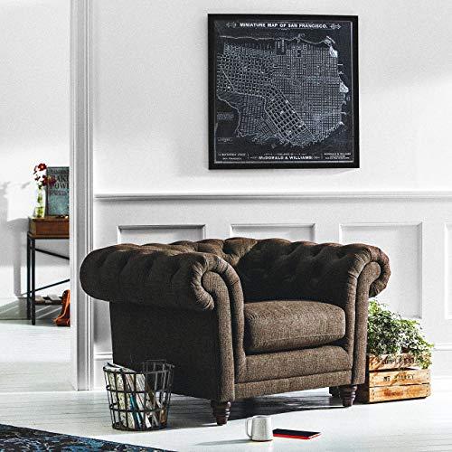 "Stone & Beam Bradbury Chesterfield Oversized Tufted Accent Arm Chair, 50""W, Warm Grey"