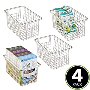 mDesign Modern Farmhouse Deep Metal Wire Storage Organizer Bin Basket with Handles for Kitchen Cabinets, Pantry, Closets, Bedrooms, Bathrooms, Laundry Rooms, Garages – 5.25″ High, 4 Pack – Satin