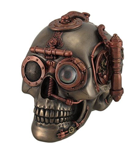 Veronese Resin Decorative Boxes Steampunk Skull With Secret Drawer Trinket Box 6.5 X 5.5 X 4.5 Inches Brown