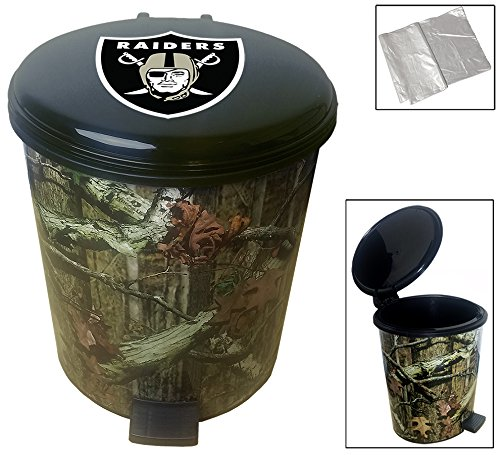 2.6 Gallon Plastic Step Can Wastebasket in a Camouflage Print Featuring Your Choice of a Football Team Logo Decal - FREE Trash Can Liner (Raiders) (Raiders Wastebasket)