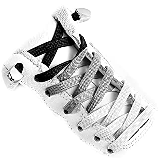 Elastic Shoe Laces - Quick to Install No tie Shoelaces for Kids and Adults(3 pairs)(black White Gray)