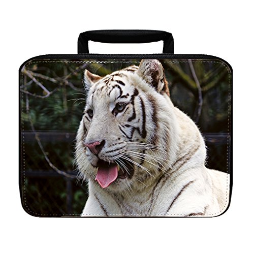 (White Bengal Tiger Head Insulated Lunch Box Bag)