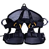 Climbing Half Body Harness Safe Seat Belt for Mountaineering Higher Level Rescue Caving Rock Climbing Rappelling Equip (Black)