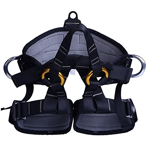 Climbing Half Body Harness Safe Seat Belt for Mountaineering Higher Level Rescue Caving Rock Climbing Rappelling Equip (Black) (Harness Quick Rappelling)