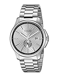 Gucci YA126320 Men's Timeless Wrist Watches, Silver Dial, Silver Band