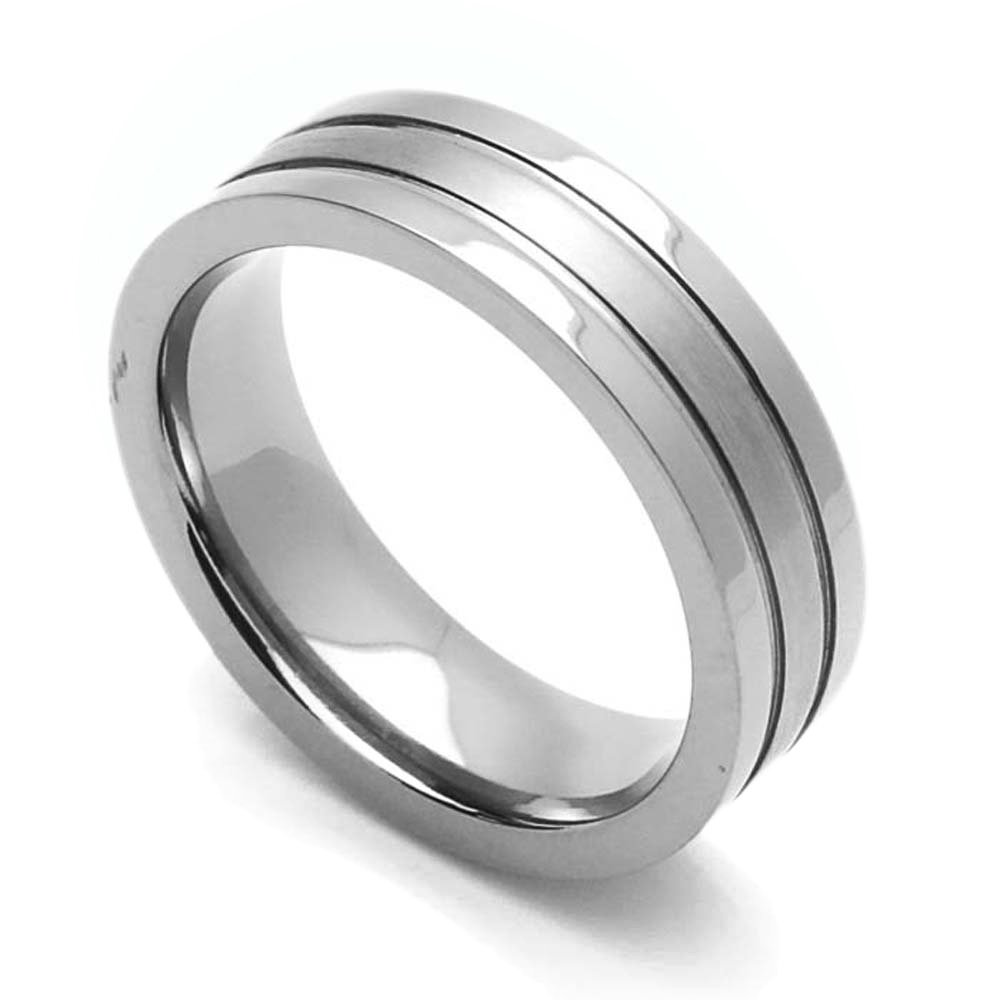 Double Accent Custom Engraving 6MM Comfort Fit Titanium Wedding Band Satin Finished Center Grooved Promise Ring