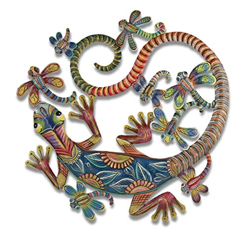 Beyond Borders Gecko and Dragonflies Jeepers Creepers Upcycled Metal Wall Hanging 23H