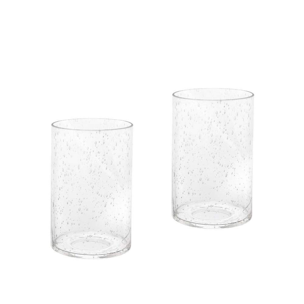 Eumyviv Seeded Glass Shade Cylinder Glass Lamp Shade Replacement Glass Pieces with 1-5/8-Inch Fitter 2-Pack (A00004)