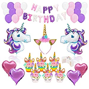 Unicorn Party Supplies Decorations- 62 pcs Complete Set- Cake Cupcake Toppers, Gold Headband, Helium Foil Balloons, Heart Balloons, Happy Birthday Banner, Gifts, Favors for Kids First 1st Girls Women