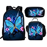 Showudesigns 3 Pieces Set School Backpack Book Bag Lunch Box Pencil Holder for Girls Butterfly Print