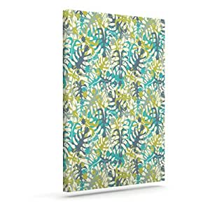 "Kess InHouse Julia Grifol ""Tropical Leaves"" Outdoor Canvas Wall Art, 16 by 20-Inch"