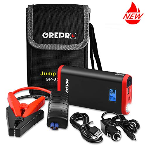 - GREPRO Car Battery Jump Starter 500A Peak Jump Starter Battery Pack (Up to 4.5L Gas, 2.5L Diesel Engine) 12V Battery Booster, 9000mAh Portable Power Pack with Quick Charge and Built-in LED Flashlight