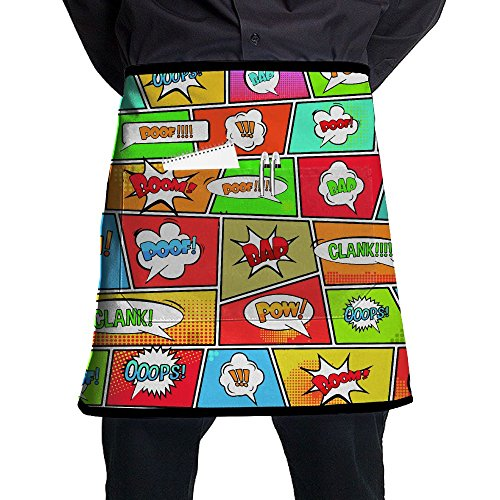 Clank Pop Art Style Home Cooking Kitchen Half Body Waist Aprons Sewing Pocket Apron ()