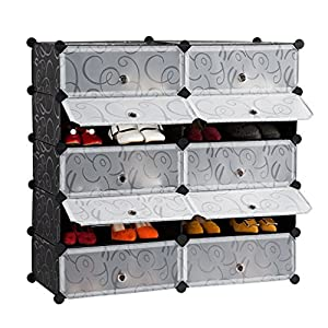 LANGRIA 10 Cube Shoe Storage Shoe Cabinet Plastic Shoe Organizer, DIY Shoe  Rack Drawer Unit Multi Use Modular Organizer Storage With Doors, Black And  White ...