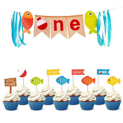 COOPER FUN 1st Fishing Birthday Banner with 11 Pcs Birthday Cupcake Topper Gone Fishing Party Decorations The Big One Burlap Banner Little Fisherman Banner Kids Highchair Party Decoration -