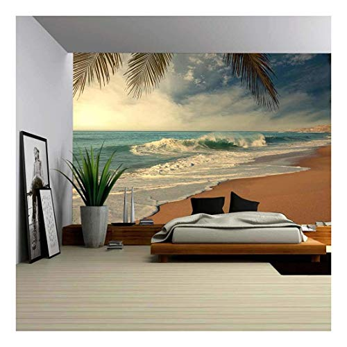 wall26 - Tropical Beach - Removable Wall Mural | Self-adhesive Large Wallpaper - 66x96 inches (Beach Mural)