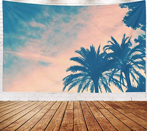 Yecationy Beach Tapestry, Tapestry Psychedelic Tapestry 80x60 Inch Palm Trees Sunset Tapestry Wall Hanging Living Room Decoration Tapestries -
