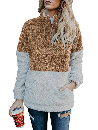 (TEMOFON Women's Long Sleeve Zipper Fleece Jacket Sherpa Pullover Winter Outwear Sweatshirt Coatwith Pockets Brown M)
