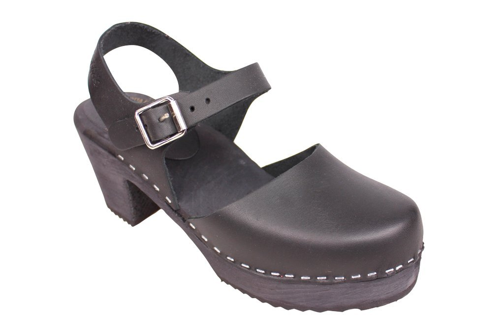 Lotta From Stockholm Torpatoffeln Swedish Clogs : Highwood Mary Jane Style in Black Leather 6.5 B(M) US/37 M EU by Lotta From Stockholm