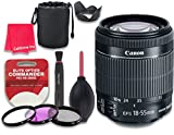 Canon EF-S 18–55mm f/3.5–5.6 IS STM Lens for Canon DSLR Cameras - International Version (No Warranty) + 3pc Filter Kit (UV, FLD, CPL) + 3pc Accessory Kit w/ Celltime Cleaning Cloth