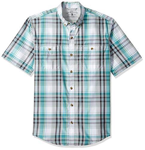 (G.H. Bass & Co. Men's Explorer Short Sleeve Fishing Shirt Plaid Button Pocket, Green Blue Slate, Large)