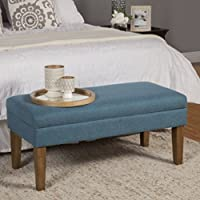 Contemporary Wooden Decorative Storage Bench - Beautiful Upscale Solid Linen Like Fabric with Chunky Texture - Multi-functional Item That Works in Many Rooms - Satisfacion Guaranteed! (Teal)