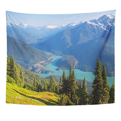 Emvency Tapestry Blue Mountain Diablo Lake Washington Green Northwest Pacific America Home Decor Wall Hanging for Living Room Bedroom Dorm 50x60 Inches (Washington Wall Covers)