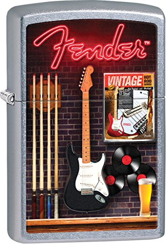 Fender Guitar Style4 Zippo Outdoor Indoor Windproof Lighter Free Custom Personalized Engraved Message Permanent Lifetime Engraving on Backside ()