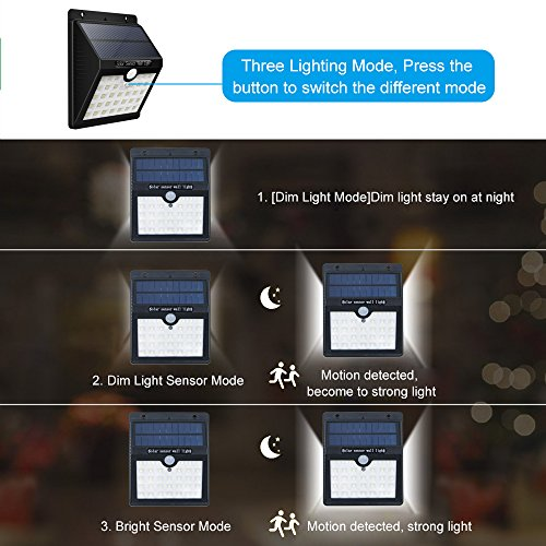KEYNICE Solar Motion Sensor Lights Outdoor Solar Security Lights with 3 Mode, 33 LED Lights, Waterproof Solar Powered Wall Lights for Outdoor Wall, Back Yard, Fence, Garage, Garden, Driveway by KEYNICE (Image #3)