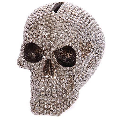 DAVITU Chrome Silver Jewelled Skull Money Box Halloween Diamond Skull Statue Sculpture Figure Homo Sapiens Skeleton Head Coin Bank