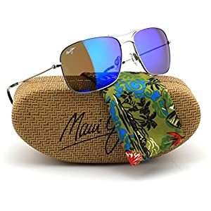 Maui Jim B246-17 Wiki Wiki Polarized Sunglasses Silver Titanium Frame / Blue Hawaii Lens
