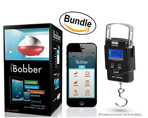 iBobber Wireless Bluetooth Smart Fish Finder for iOS and Android devices & Dr. Meter PS01 110lb/50kg Electronic Balance Digital Fishing Postal Hanging Hook Scale (Bundle)