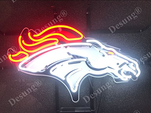 "Desung 19""x15"" Denver Sports Team Bronco Neon Sign Light Lamp (VariousSizes) HD Vivid Printing Technology Handmade Beer Bar Pub Man Cave HD01"