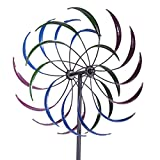 LAZYMOON 79'' H Metal Double Spiral Wind Spinner Outdoor Yard Stake Lawn Ornaments Garden Decor