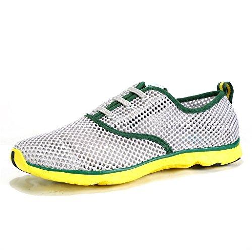 iLory Junge und Mädchen Masche Beleg auf Wasser-Schuhe, Schnelltrocknende Aqua Upstream Schuhe Breathable Ineinander Greifen Sport-Turnschuhe Grün