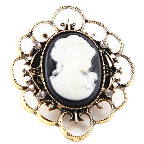 Ever Cute Women Cameo Rose Rhinestone Brooch Vintage Victorian Crystal Filigree Flower Pin-Black