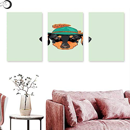 (J Chief Sky Dachshund Wall Art Oil Paintings Hipster Pure Breed Dog Silhouette in a Green Tyrolean Hat Cute Dachshund Puppy Triptych Art Multicolor Triptych Art Canvas W 16