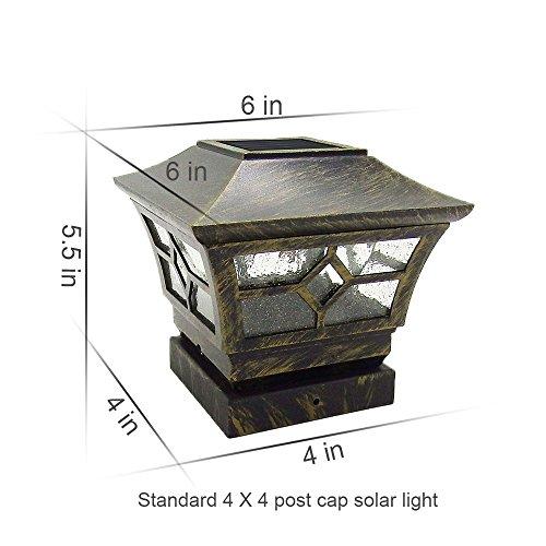 CHEEKON 4 x 4 Solar Post Cap Lights, Metal and Glasses, Bron