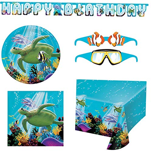 Olive Occasions Ocean Themed Happy Birthday Party Supplies 16 Cake Plates, 16 Beverage Napkins, Banner, Table Cover, Paper Glasses, Recipe -