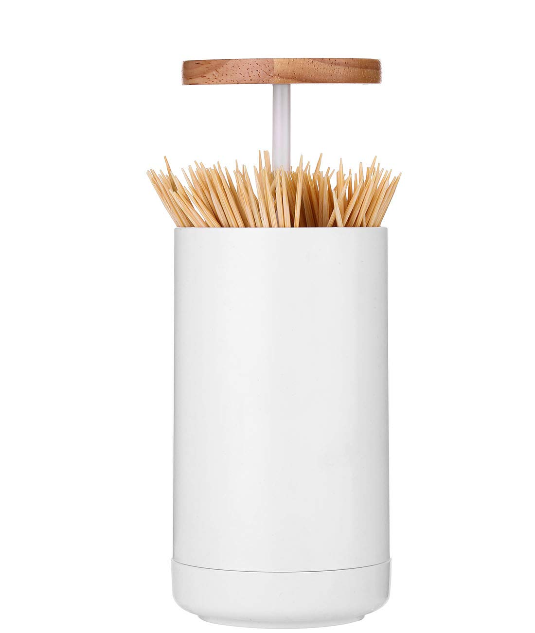 4 Compartment Q-Tip Container Box, Bathroom Automatic Pop up Cotton Swab Holder, Toothpick Dispenser (Oak Wood Lid)
